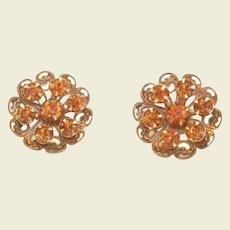 Vintage Coro Autumn Fall Rhinestone Earrings Lace Like Flowers Golden Topaz