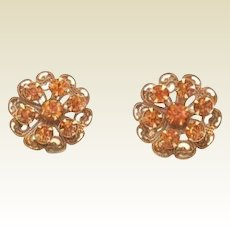 Vintage Coro Autumn Fall Rhinestone Earrings Lace Like Flowers Golden Topaz
