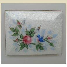 Vintage Guilloche Enamel Cigarette Case with Bird and Flowers Card Case