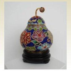 Vintage Japanese Cloisonne Lidded Pear Shape Jar with Stem Container Pot