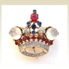 Vintage A. Philippe Trifari Rhinestone & Moonstone Crown Brooch Pin