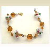 Vintage Art Glass Givre Stones With Embedded Florals & Crystals Bracelet