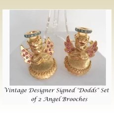 Adorable Vintage Signed Dodd's Set of 2 Angel Cherub Brooches Pins Rhinestones