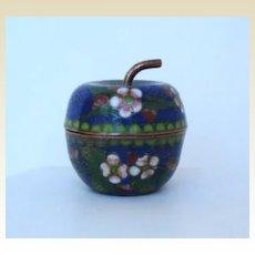 Older Vintage Japanese Cloisonné Lidded Apple Shape Jar Container Pot
