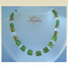 RARE Vintage Signed Trifari Necklace Foiled Art Glass Holiday