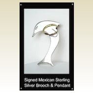 UNIQUE Vintage Sterling Mexican Dolphin Jumping Through Hoop Brooch Pendant Signed