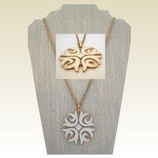 Signed Crown Trifari Creamy White Enamel Necklace Feminine Modernist Medallion