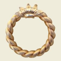 Vintage Napier Wreath Gold Plated with Brooch Special Overlaid Accent Motif