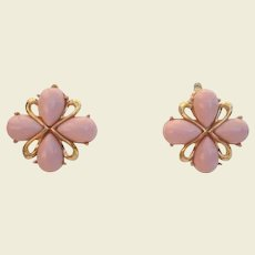 Vintage Signed Trifari Soft Pink & Gold Earrings