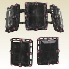 Chunky Vintage Midnight Magic Set by Sarah Coventry Black Diamond Window Panes Pink Rhinestones