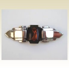 Vintage Art Deco 3.25 Winged Brooch Huge Topaz Art Glass Stone