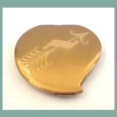 Exquisite Heart Shape Vintage Elgin of America Compact Cupid Cherub Arrow Personalize