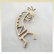 Vintage Native American Kokopelli Sterling Silver Pendant Signed
