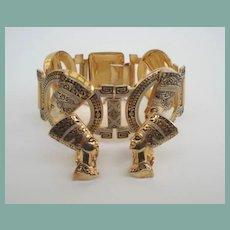 Fabulous Vintage Damascene Egyptian Nefertiti Link Bracelet & Earring Set Large Chunky
