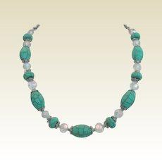 Vintage German Turquoise Matrix Artglass Stones & Austrian Crystal Necklace