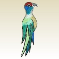 Vintage Mexican PARROT Brooch Pin Sterling Vibrant Enamels Signed