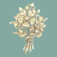 LARGE Vintage Trifari Brooch LUCKY Four Leaf Clover Bouquet Rhinestones