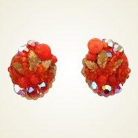 Vintage Bright Orange Berry Cluster Earrings Aurora Crystals Gold Leaf