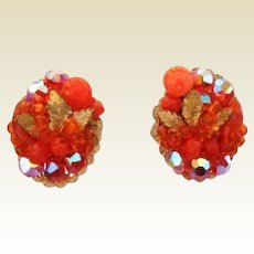 Vintage Bright Orange Berry Cluster Earrings Aurora Crystals Gold Leaf