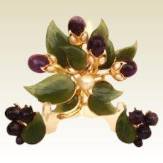 Premier Vintage Swoboda Floral Set Amethyst Jade & Genuine Pearls Signed