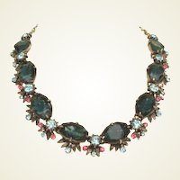 Elaborate FLORENZA Vintage Necklace Art Glass Stones & Rhinestones
