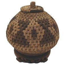 Vintage Northwest Native American Indian Basket Unusual Shape Lidded Handle Geometric Patterns