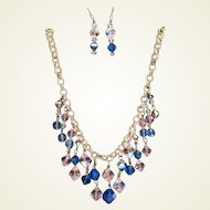 Enchanting Vintage Sapphire Blue & Pink Aurora AB Crystal Set Pierced Earrings Necklace