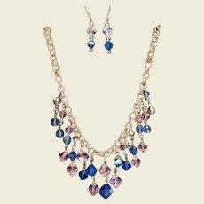 Enchanting Vintage Sapphire Blue & Pink Aurora AB Crystal Set Pierced Earrings Necklace
