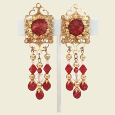 "Vintage 3"" Dangle Red Rivoli & Crystal Earrings Great For Christmas"