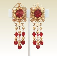 "Vintage 3"" Dangle Red Rivoli & Crystal Earrings Great For Christmas"