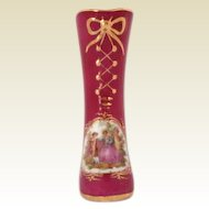 Vintage LIMOGES France Hand Painted Porcelain Boot Vase Courting 18th C Couples Pink/Gold