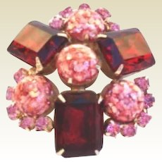 Vintage Ruby Red & Pink Rhinestone Brooch Confetti Lucite Art Glass Stones