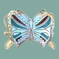 Vintage Native American BUTTERFLY Bracelet Turquoise Coral & Sterling Silver