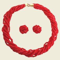 Vibrant Vintage Red Torsade Set Choker Pierced Earrings Cut Glass Beads Bell End Caps