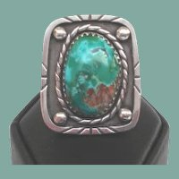 Large Vintage Native American Morenci Turquoise Ring Sterling LARGE Size