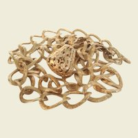 Fabulous Vintage Couture Necklace by Sarah Coventry Gold Florals Long Pendant