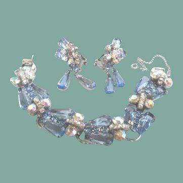 Vintage Juliana D&E Blue Set Bracelet & Earring Dangles