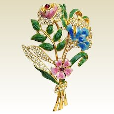 Spectacular Vintage Unsigned Coro Bouquet Brooch Pin Rhinestones Enamel