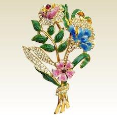 Spectacular Vintage Unsigned Coro Bouquet Brooch Pin Rhinestones Enamel