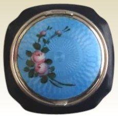 Vintage 1920's Blue & Black Guilloche Enamel Powder & Rouge Compact