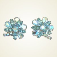 Vintage Weiss Blue Rhinestone Flower Earrings Signed