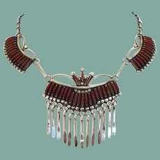 Vintage Native American Zuni Sterling Silver Coral Needle Point Design Necklace Signed