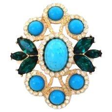 Vintage Sarah Coventry Pendant Brooch Gold Rhinestones & Novelty Stones