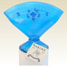 Vintage Fenton Celeste Blue Stretch Glass Coralene Fan Vase 90th Anniversary 6""