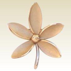 Vintage Crown Trifari Flower Brooch Pin Signed