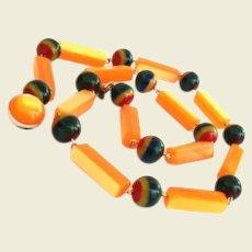 Distinctive Vintage Luminescent Peach Plastic Resin Bead Necklace Plus Other Colors