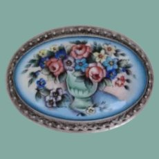 Antique Victorian Sterling Silver Hand Painted VASE & Flowers Porcelain Brooch Pin