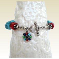 Artisan Bracelet Sleeping Beauty Turquoise Coral Lapis Sterling Silver Charm 8""