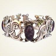 Vintage Mexican Sterling Silver & Amethyst Bracelet Pre Colombian Design Signed