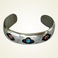 Vintage Native American Turquoise & Coral Cuff Bracelet Sterling Silver Extensive Stamping